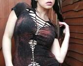 Steampunk Tribal Goth Post Apocalyptic Industrial Cyberpunk Shredded Braided Woven Shirt Distressed Womens Clothing