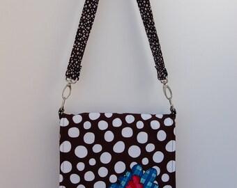 Mini Messenger Bag, holds iPad or e-reader - Brown polka dot