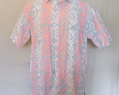 Vintage Radical 80s SURF BUTTON Up Saved By The Bell Style Summer Beach Men Medium Cotton Short Sleeve SHIRT