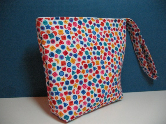CLEARANCE, Wristlet, Small Organizer Pouch,  Rainbow of Mini Buttons, Stars, Hearts, Moons, Squares, Circles