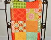 Modern Baby Quilt - Amy Butler Blanket Mix of Orange, Red, Green, and Aqua