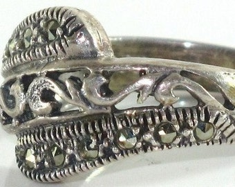 Ring - Sparkling Marcasite and Detailed Sterling Silver metal work Ring