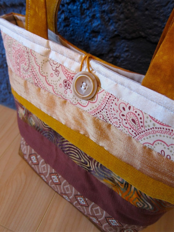 Quilted Striped Purse, OOAK, Cotton, Silk & Corduroy, Rum Butter