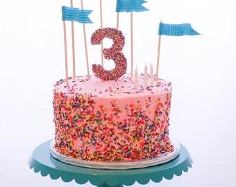 Edible Pressed Sugar Sprinkles Number Cake Topper