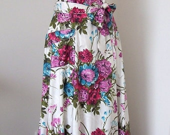 """Vintage 1950s Floral Dressing Gown - Ralston 100% Cotton Lingerie House Coat - As New - 34"""" Bust - Mad Men"""