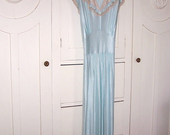 1930s 1940's Nightie, Night Gown - Pastel Blue w Coffee Lace - Full Length, Long - Slinky, Sexy, Shimmery - NOS NWOT Unworn size SMALL