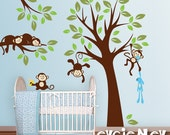 Monkeys Everywhere Wall Decals - Jungle Tree with Monekys Wall Stickers - PLMG020L