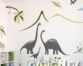 Dino Wall Stickers - Prehistoric Family by the Lake Scene Wall Decals - PLDN010