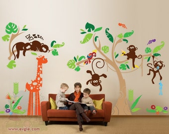 Jungle Wall Decals -  Nursery Wall Decals with Little Monkeys - Children Wall Decals -PLJN010L