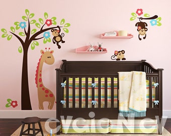 Wall Decals for Kids - Monkeys on the Tree - Kids Wall Decals - INSTANT SHIPPING - PLSF020R