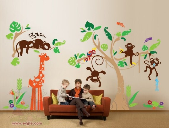 In the deep Jungle Wall Decals - Monkeys, Tree, Giraffe and Parrot Wall Stickers - PLJN010L