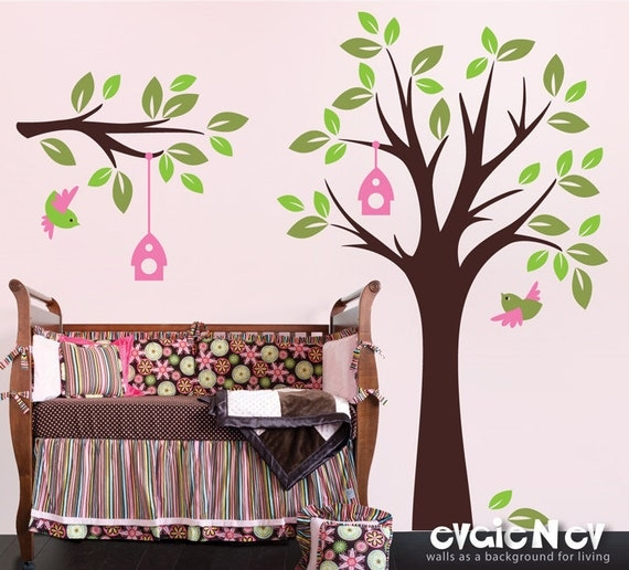 Nursery Wall Decal Wall Sticker - Birds and Tree with Branch Wall Stickers - TRBL030R