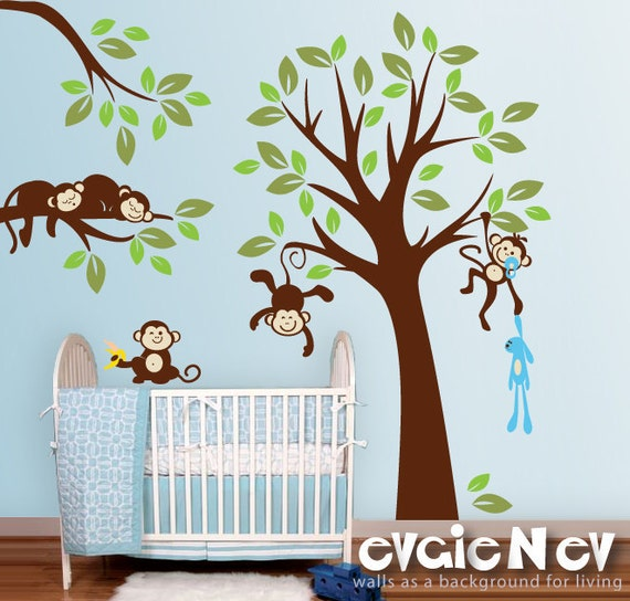 Monkeys everywhere wall decals jungle tree with monekys wall for Baby jungle mural