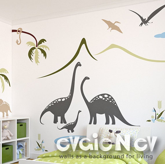 Dino Wall Stickers Prehistoric Family By The Lake Scene Wall