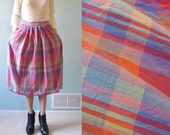 vintage colorful plaid print cotton skirt medium