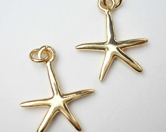 One 18kt Gold Vermeil Starfish Charm with Jump Ring 16 x 13mm
