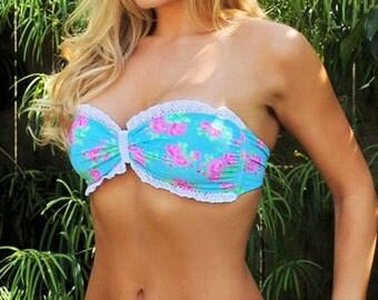 Swimsuit Bandeau Bikini - Blue Floral with Crochet Ruffle