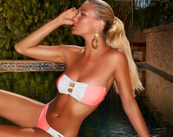 Swimsuit - Bandeau Color Block Coral White Bikini