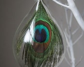 hand blown glass peacock ornament