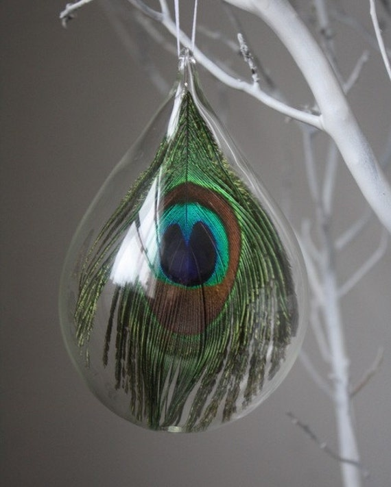 hand blown glass peacock ornament