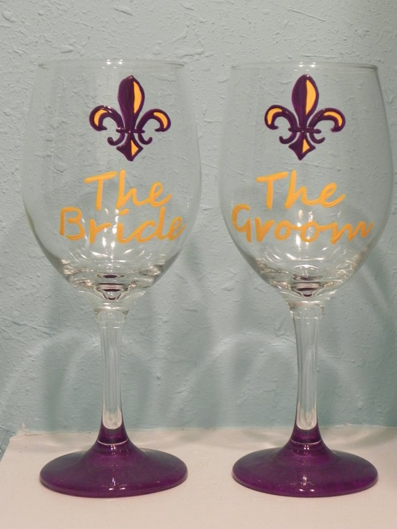 LSU Purple and Gold Bride and Groom Wine Glasses Football wedding Baton Rouge Wedding Louisiana Sports Fans