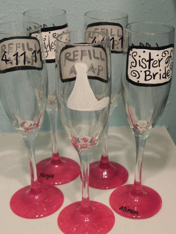 Custom REFILL ASAP  Wedding Champagne Flutes