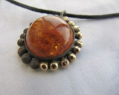 Amber Silver Gold Pendant