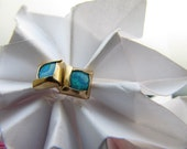 Gold Square Earrings With Opals