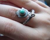 Hamsa Tourquise Silver Ring