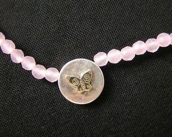 Rosequartz  Butterfly Necklace