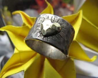 Gold  Heart  Silver  Ring