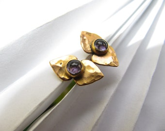 Hearts  Gold Earrings with Amatist