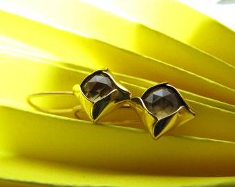 Gold Citrine Square Earrings
