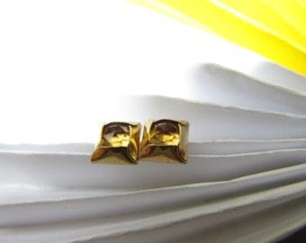 Citrine Post Gold Earrings
