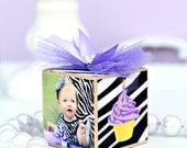 No.15 Personalized Purple Lavender Baby Photo Block Nursery Decor