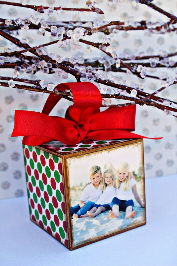 No. 41 Christmas Family Personalized Photo Block Ornament