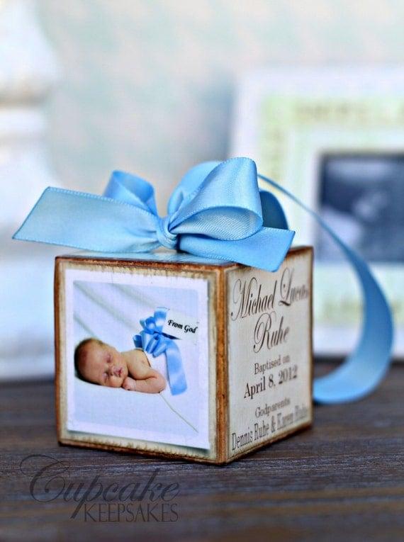 Personalized Photo block gift Baptism Christening