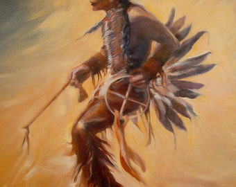 Dancing Native American Indian (36x48) Large Original Oil Painting on Canvas by Diane Borg