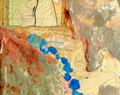 Latitude, mixed-media/encaustic on canvas, map art