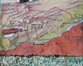 Park, mixed-media/acrylic on canvas, map art