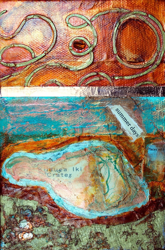 Summer Days, mixed-media/acrylic on canvas, map art