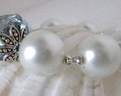 Bracelet, Blue Crystal Glass Bead with White Pearls- Stretch Bracelet-