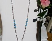 Genuine Turquoise Cross - Unique Beaded Chain Necklace - Stone of Life - Unique Design - Custom Lengths Available