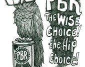 Pabst blue ribbon Owl with glasses 11x17 print