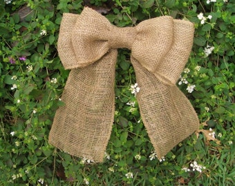 Burlap Bow, Burlap Wreath Bow, Burlap Wedding Decor, Burlap Pew Bow, Burlap Swag Bow, Rustic Wedding Decor, Burlap Chair Back Bow
