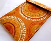 iPad mini, kindle fire sleeve, nook hd case  - hand embroidered - tangerine orange yellow kaleidoscope - quilt lined  gadget cover