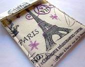 Kindle sleeve, Kindle Touch case, Paperwhite cover gadget - hand embroidered cover - Paris Postcards in Purple and Grey - Postmarks