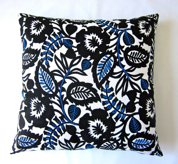 SALE decorative pillow cover hand embroidered embellished cottage home decorator fabric 18 X 18 throw pillow cobalt blue black white indigo