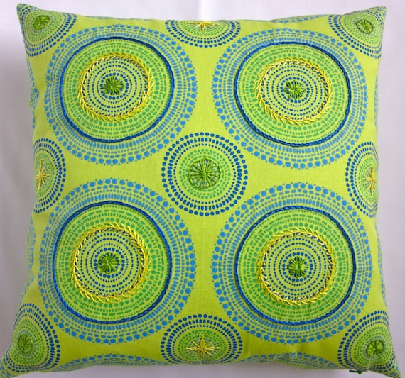 hand embroidered 18 X 18 decorative throw pillow cover - embellished cushion case - lime green blue yellow kaleidoscope modern home decor