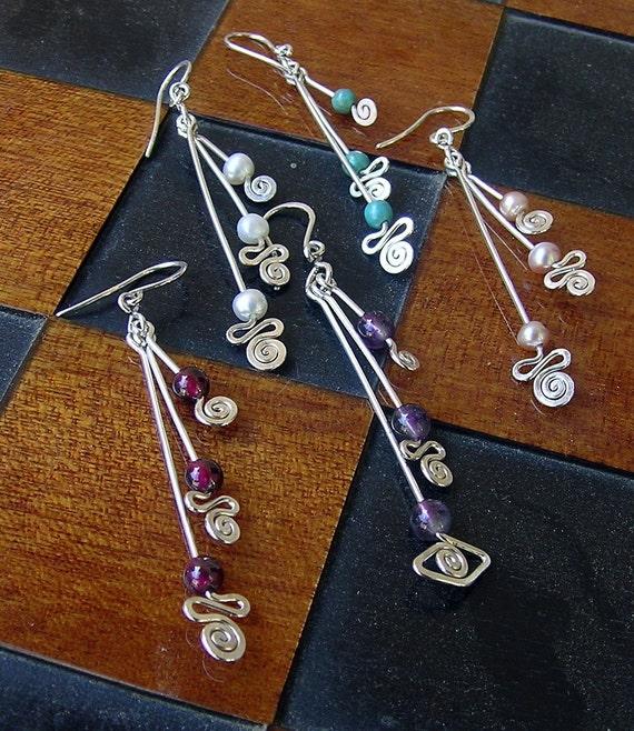 Sterling silver long dangle earrings, 3 sticks n spirals dangle silver earrings, silver drop earrings, young fun earrings, gemstone earrings
